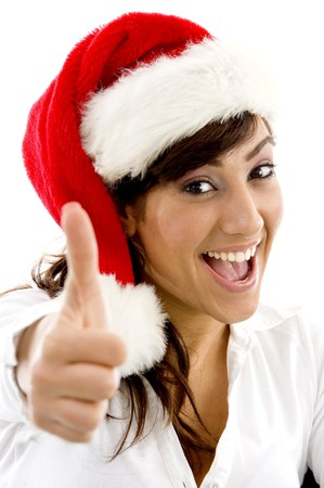 front view of happy attorney in christmas hat with thumbs up with white background photo