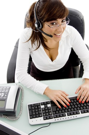 provider:  high angle view of happy service provider in an office Stock Photo
