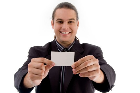 young executive posing with business card with white background photo