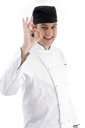 portrait of young chef on an isolated white background