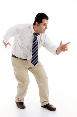 flourishing businessman celebrating his success with dance Stock Photo - 3972111