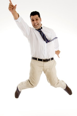 winning businessman having fun in mid air with white background photo