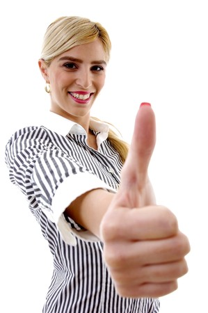 side pose of smiling woman with thumbs up on white background Stock Photo - 3972585