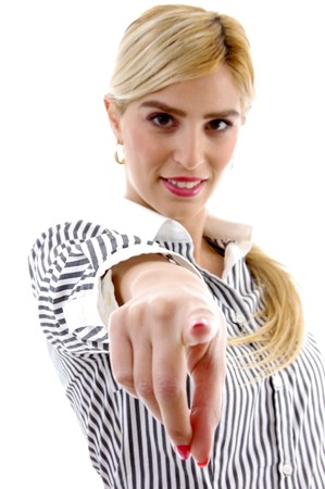 front view of businesswoman pointing on an isolated background photo