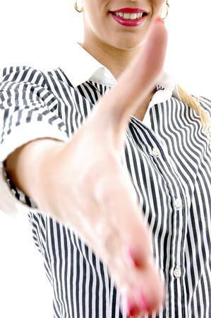 front view of woman offering handshake against white background photo