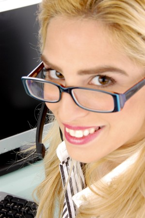 care providers: side view of smiling telecaller in an office Stock Photo