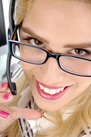 close up view of smiling telecaller in an office Stock Photo - 3975386