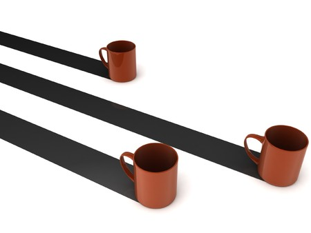 3d rendering of coffee mugs with white background photo