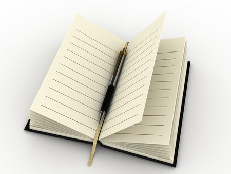 ruled paper: 3d diary and pen  Stock Photo