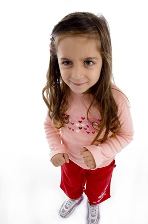 aerial view of little girl looking aside with white background photo