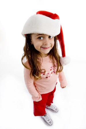little girl wearing christmas hat with white background photo