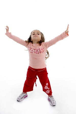 girl stretching her arms with white background photo