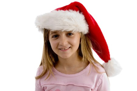 pretty girl wearing christmas hat on an isolated background photo