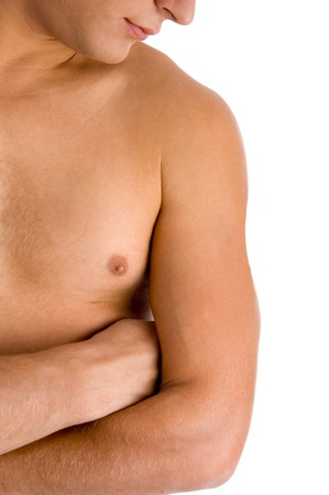 close view of man looking at his muscular arm with white background photo