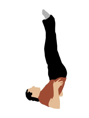 young man practicing yoga on white background photo
