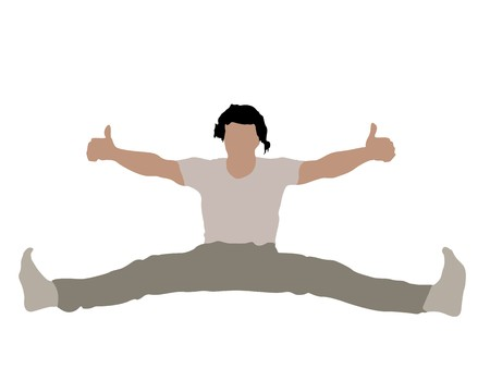 man with stretched legs and thumbs up on white background photo