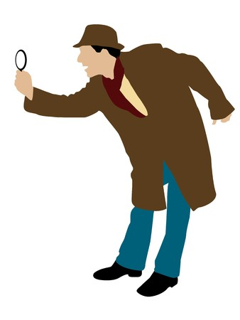 inquiring: man looking through magnifier on isolated background