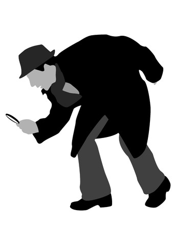 detective with magnifier on isolated background