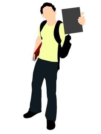 textbooks: student holding books on isolated background