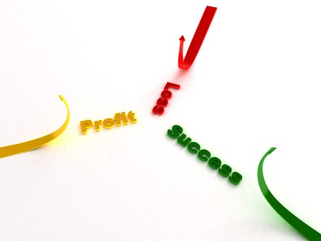 curved arrows: business concept with 3D curved arrows Stock Photo