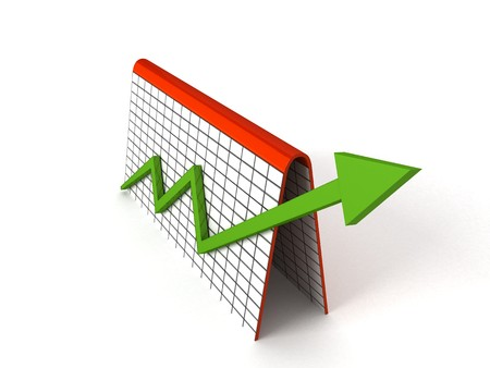 3D profit graph with green arrows photo