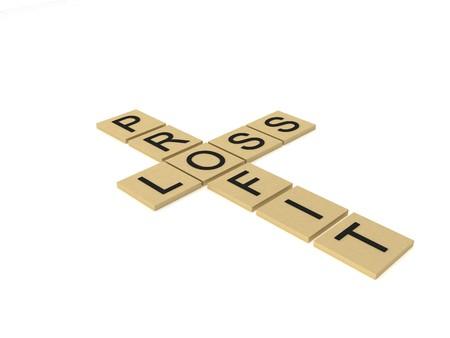 profit loss: 3D profit and loss cross words Stock Photo