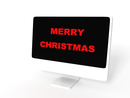 santaclause: 3D  isolated merry christmas text on monitor