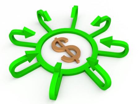 3D dollar with profit arrows photo