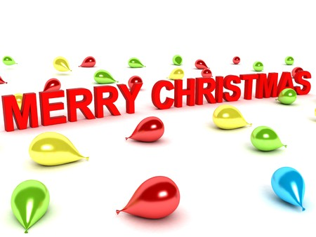 isolated 3D  merry christmas words and balloons photo