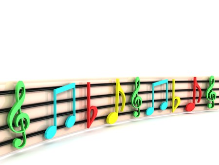 clefs: isolated 3D colorful musical clefs Stock Photo