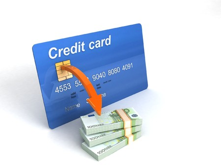 3D credit card with bundle of currency     photo