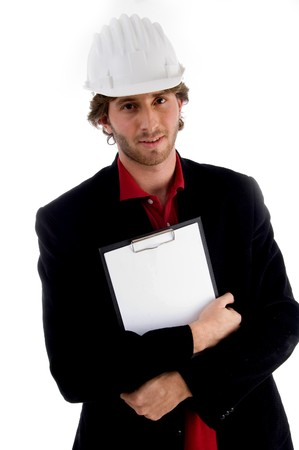 handsome architect holding writing pad on an isolated background photo