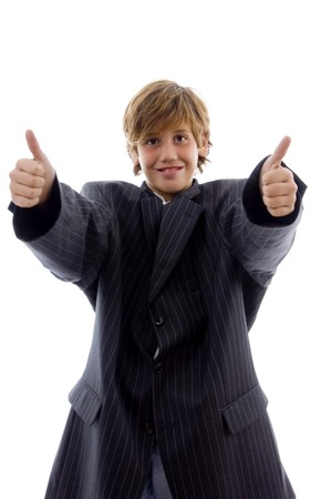 front view of happy young professional with thumbs up with white background photo