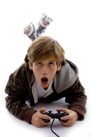 videogame: front view of surprised kid playing videogame on an isolated white background