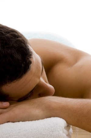 front view of man in spa resort on mat  Stock Photo
