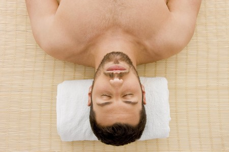 EASE: high angle view of relaxing male at spa  Stock Photo