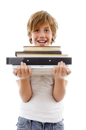 front view of boy holding books on an isolated white background photo