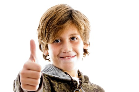 10s: front view of pleased kid with thumbs up with white background