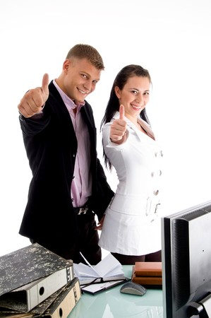 goodluck: business people wishing goodluck in an office
