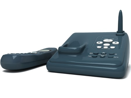 cordless phone: 3D black cordless phone on an isolated background