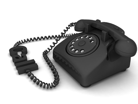 3D view of landline phone on an isolated white background photo