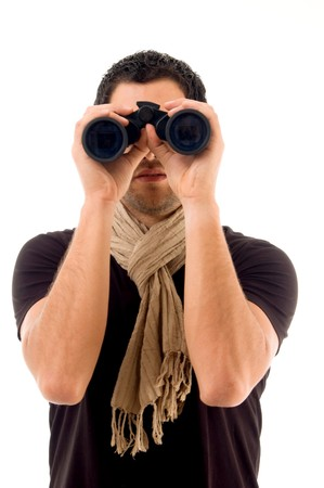 young male holding binocular on an isolated background Stock Photo - 3989080