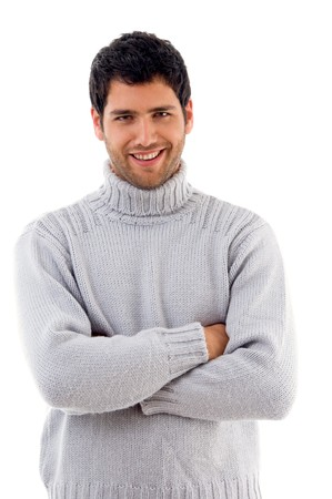 woolen: handsome man wearing woolen sweater on an isolated background