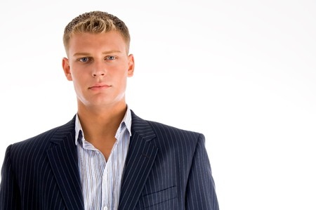 portrait of caucasian male looking at camera on an isolated white background