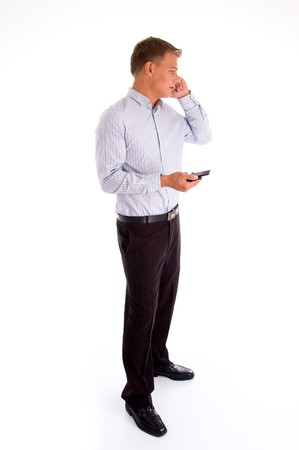 standing american man talking on cell phone with white background