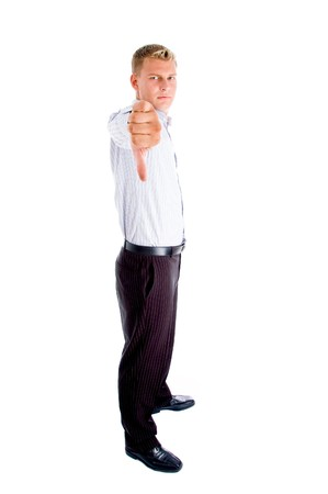 standing man showing thumbs down with white background photo