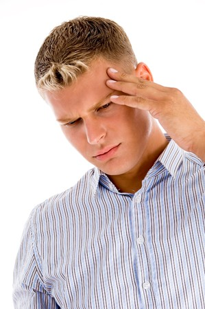 man suffering from headache with white background