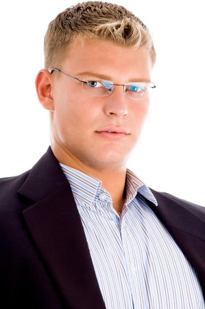 american man looking at camera with white background Stock Photo