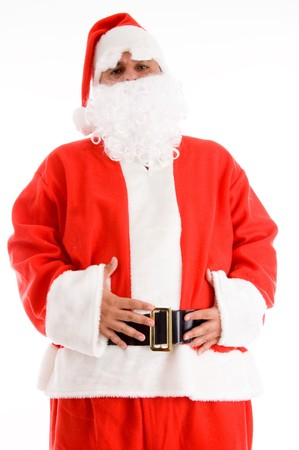 santaclause hat: santa clause posing with his hands on waist isolated with white background