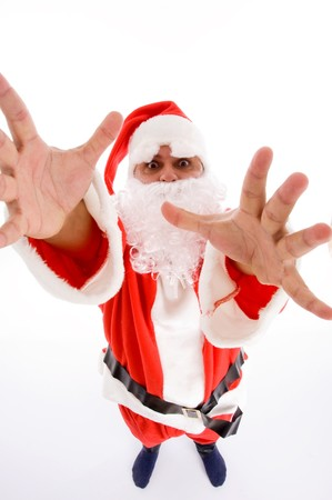santaclause hat: santa man with open palms against white background